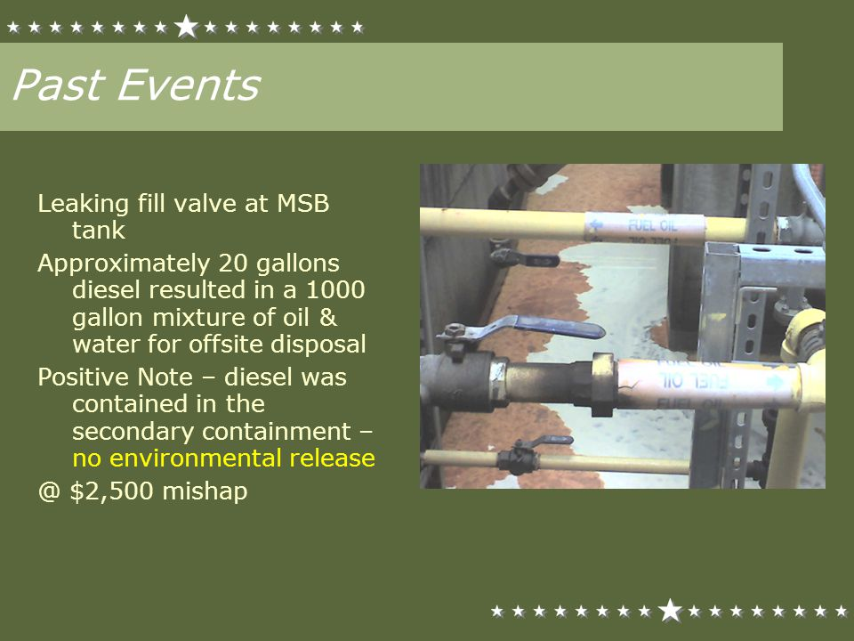 Past Events Leaking fill valve at MSB tank