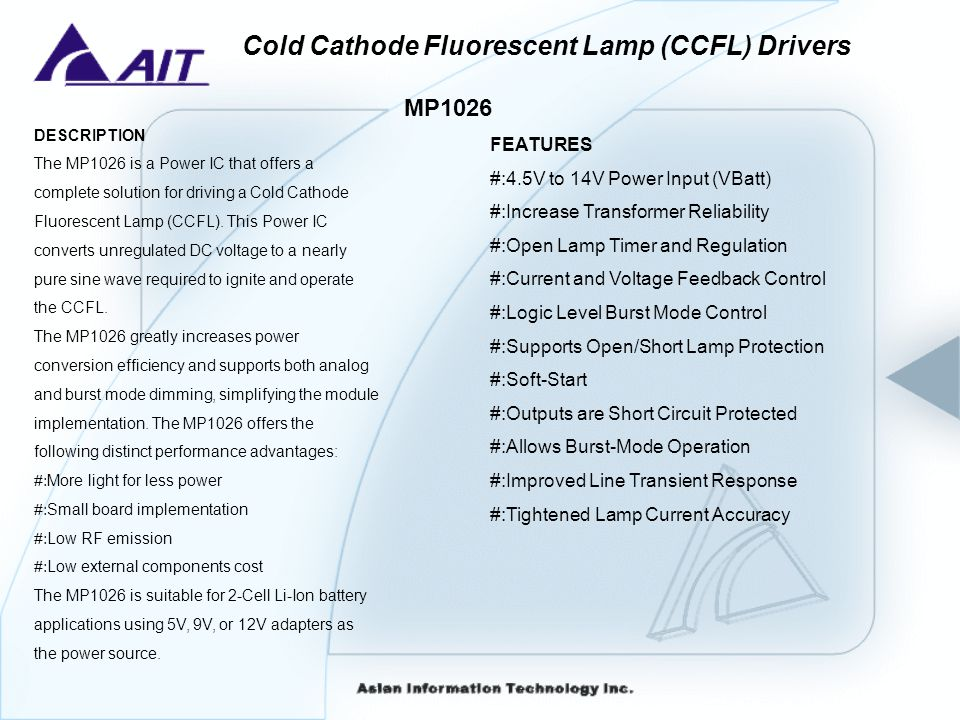 Cold Cathode Fluorescent Lamp (CCFL) Drivers