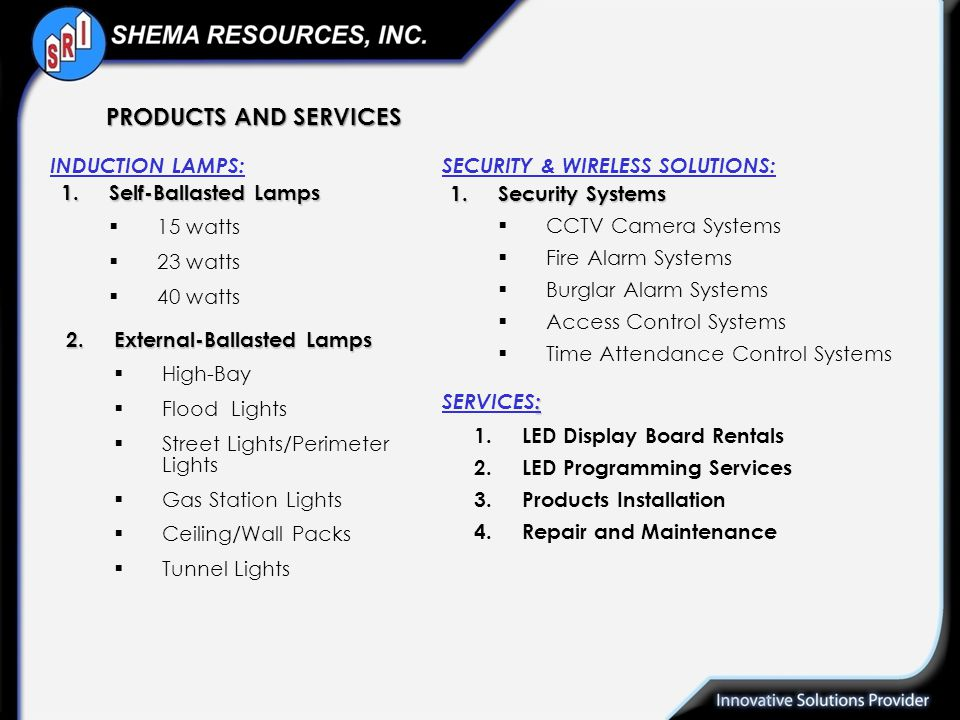PRODUCTS AND SERVICES INDUCTION LAMPS: SECURITY & WIRELESS SOLUTIONS: