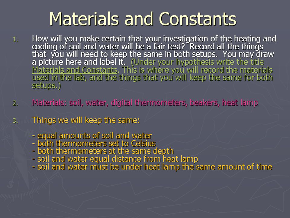 Materials and Constants