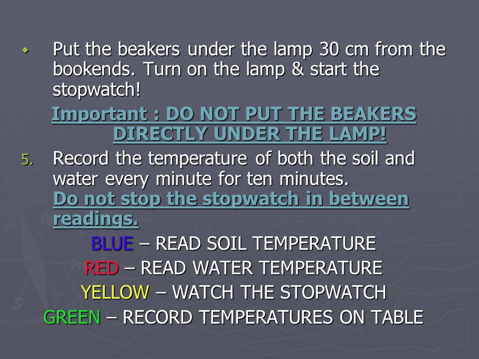 Important : DO NOT PUT THE BEAKERS DIRECTLY UNDER THE LAMP!