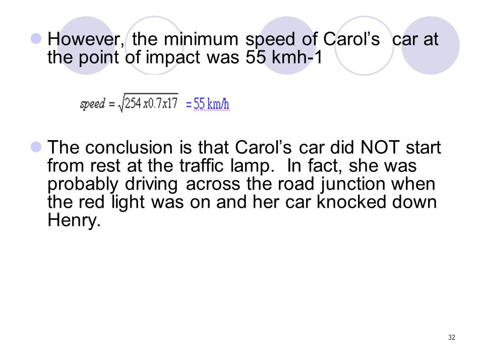 However, the minimum speed of Carol's car at the point of impact was 55 kmh-1