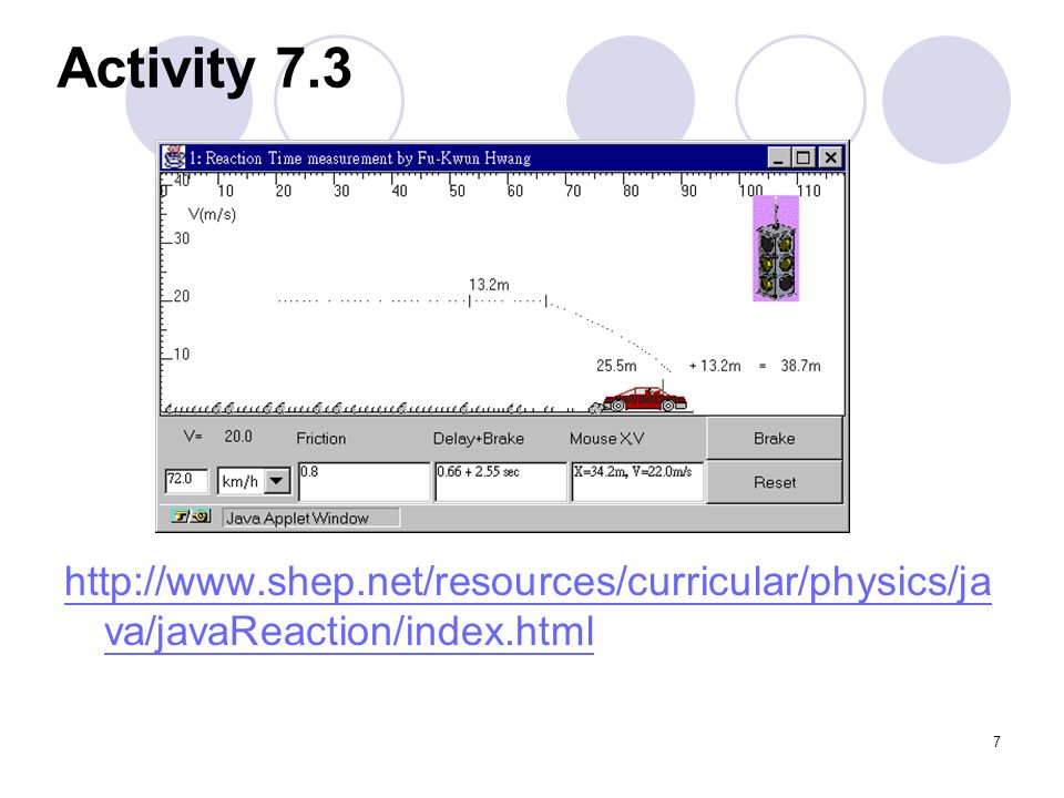 Activity 7.3 http://www.shep.net/resources/curricular/physics/java/javaReaction/index.html
