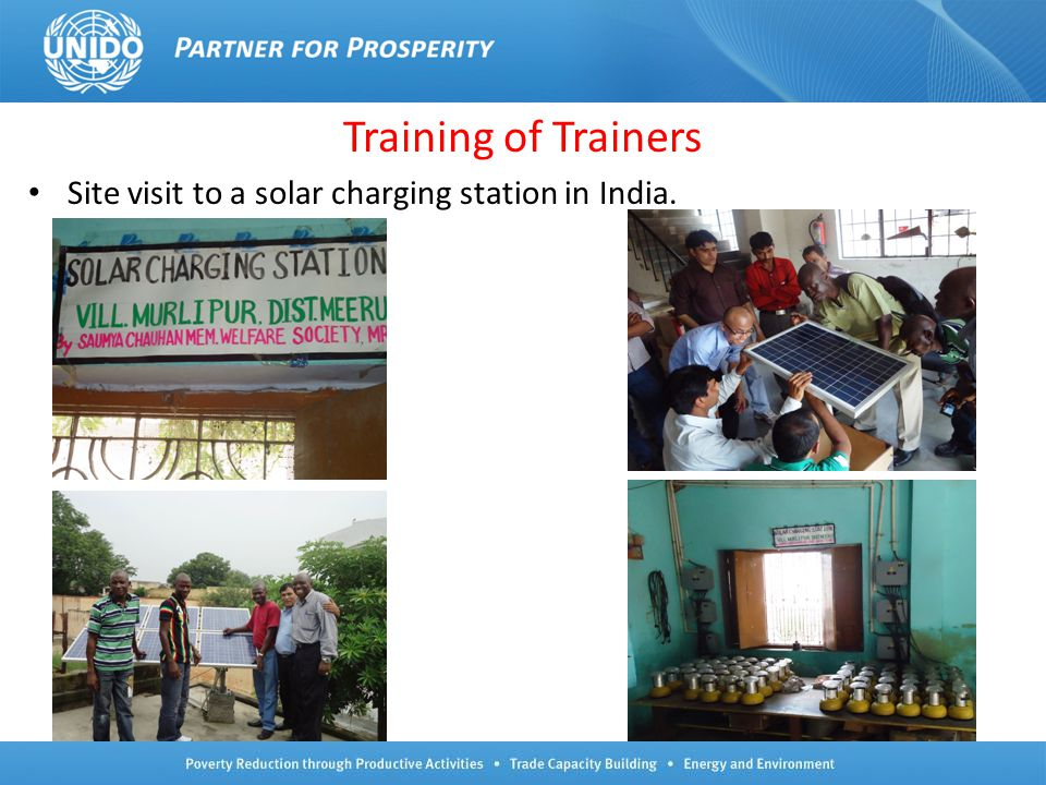 Training of Trainers Site visit to a solar charging station in India.