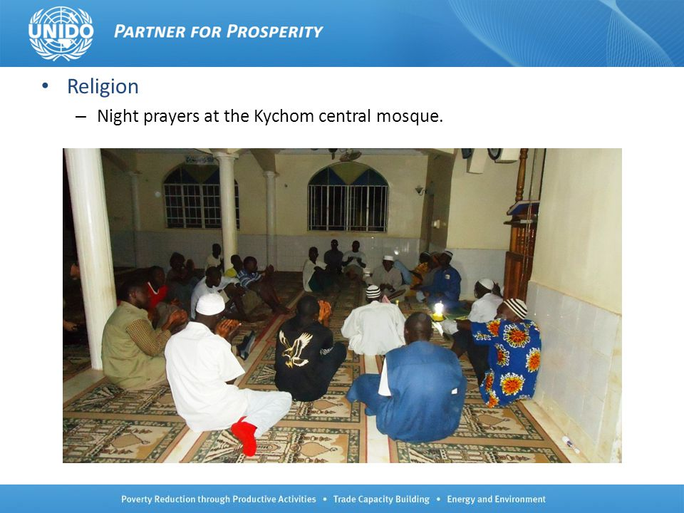 Religion Night prayers at the Kychom central mosque.