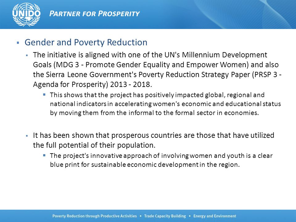 Gender and Poverty Reduction