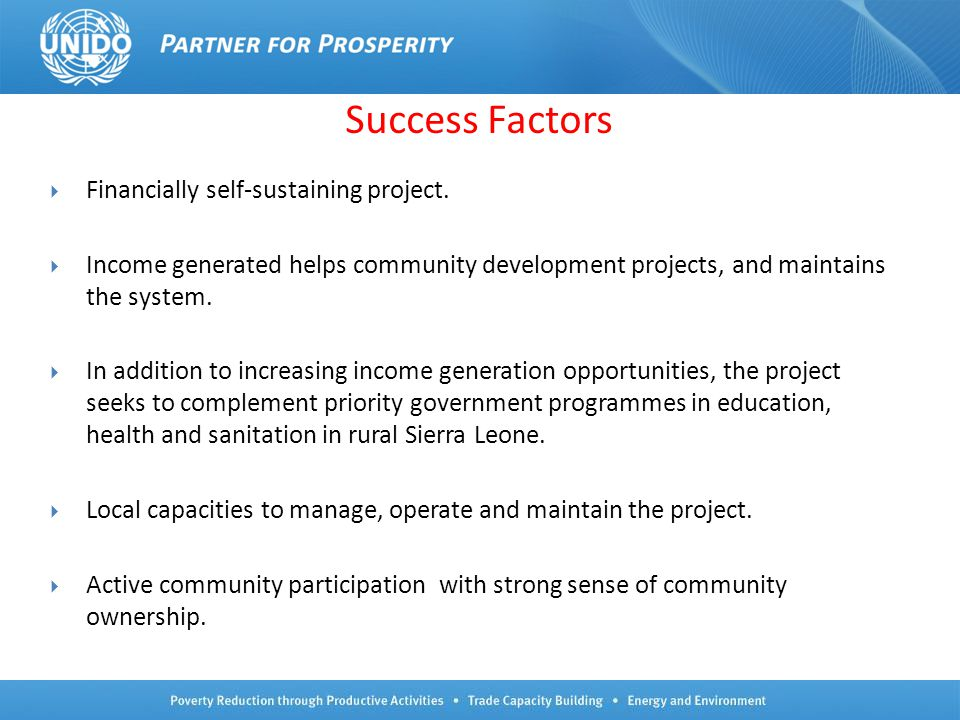 Success Factors Financially self-sustaining project.