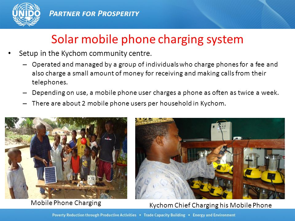 Solar mobile phone charging system