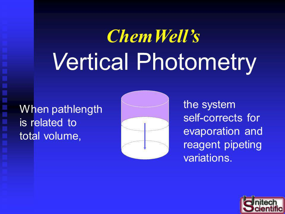 Vertical Photometry ChemWell's the system When pathlength