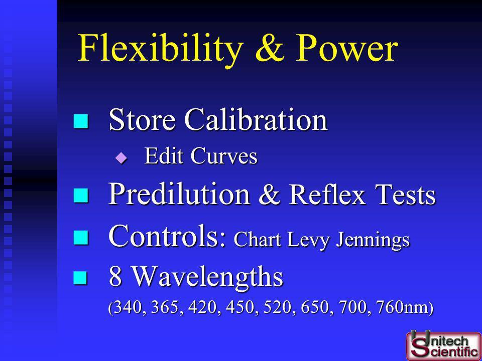 Flexibility & Power Store Calibration Predilution & Reflex Tests