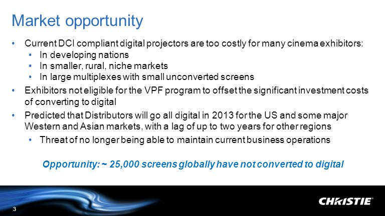 Opportunity: ~ 25,000 screens globally have not converted to digital