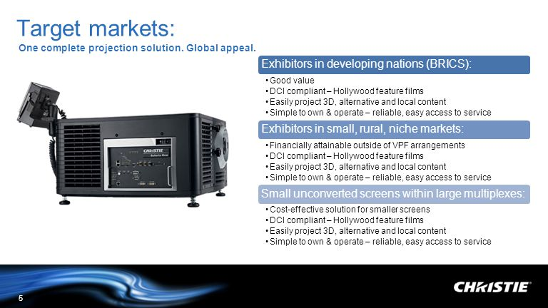Target markets: One complete projection solution. Global appeal.