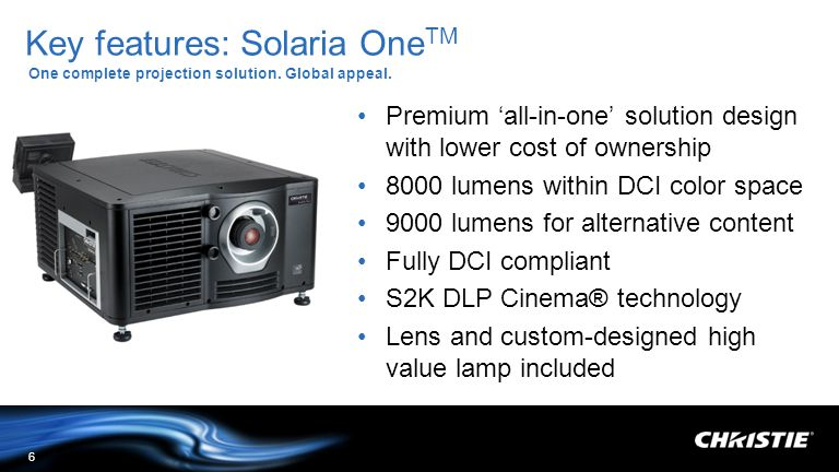 Key features: Solaria OneTM One complete projection solution