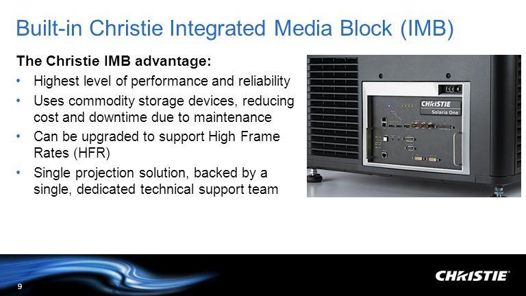 Built-in Christie Integrated Media Block (IMB)