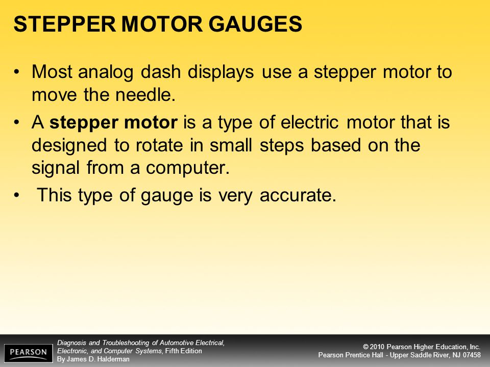 STEPPER MOTOR GAUGES Most analog dash displays use a stepper motor to move the needle.
