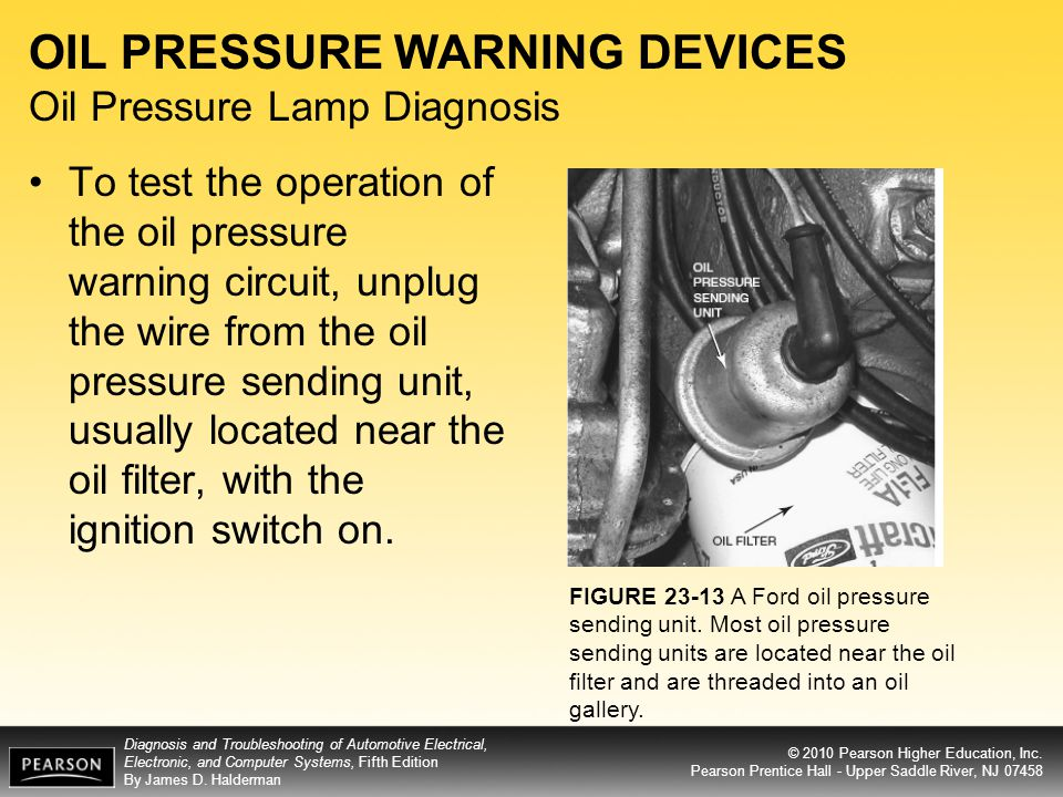 OIL PRESSURE WARNING DEVICES Oil Pressure Lamp Diagnosis