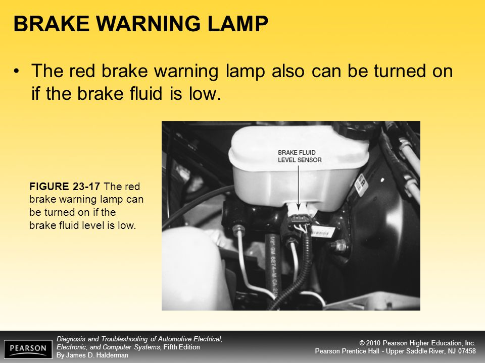 BRAKE WARNING LAMP The red brake warning lamp also can be turned on if the brake fluid is low.