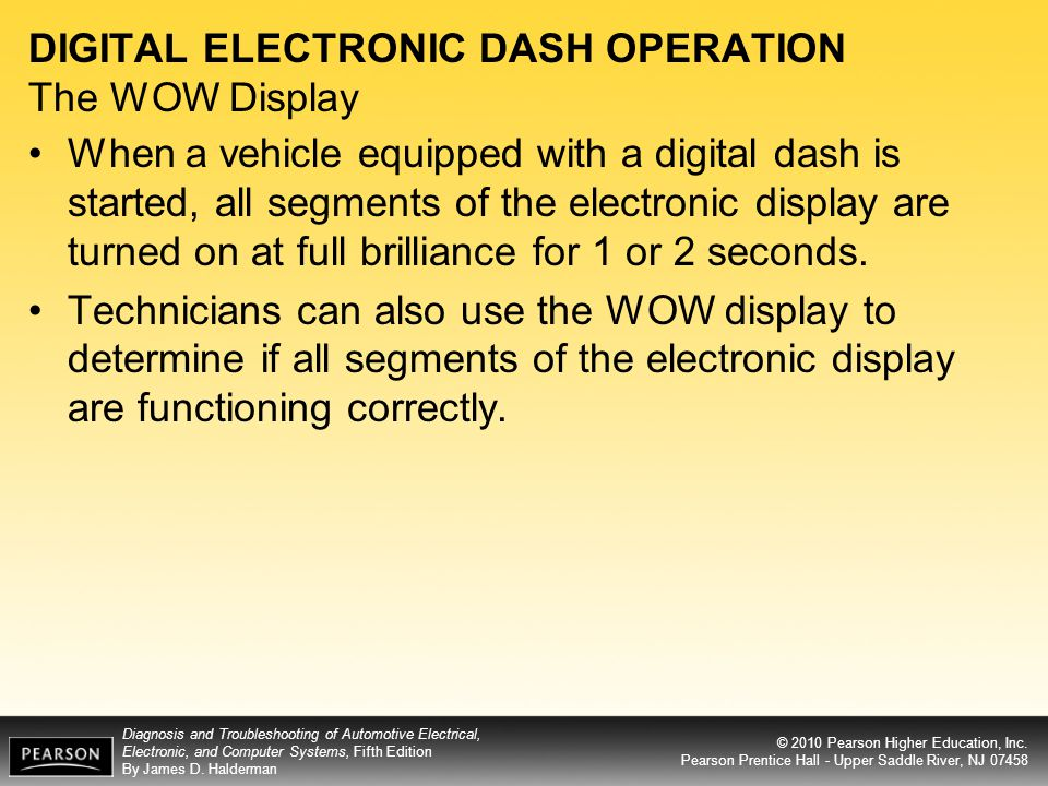 DIGITAL ELECTRONIC DASH OPERATION The WOW Display