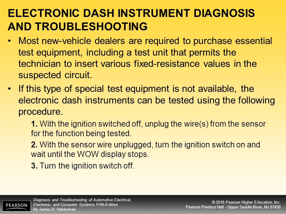 ELECTRONIC DASH INSTRUMENT DIAGNOSIS AND TROUBLESHOOTING