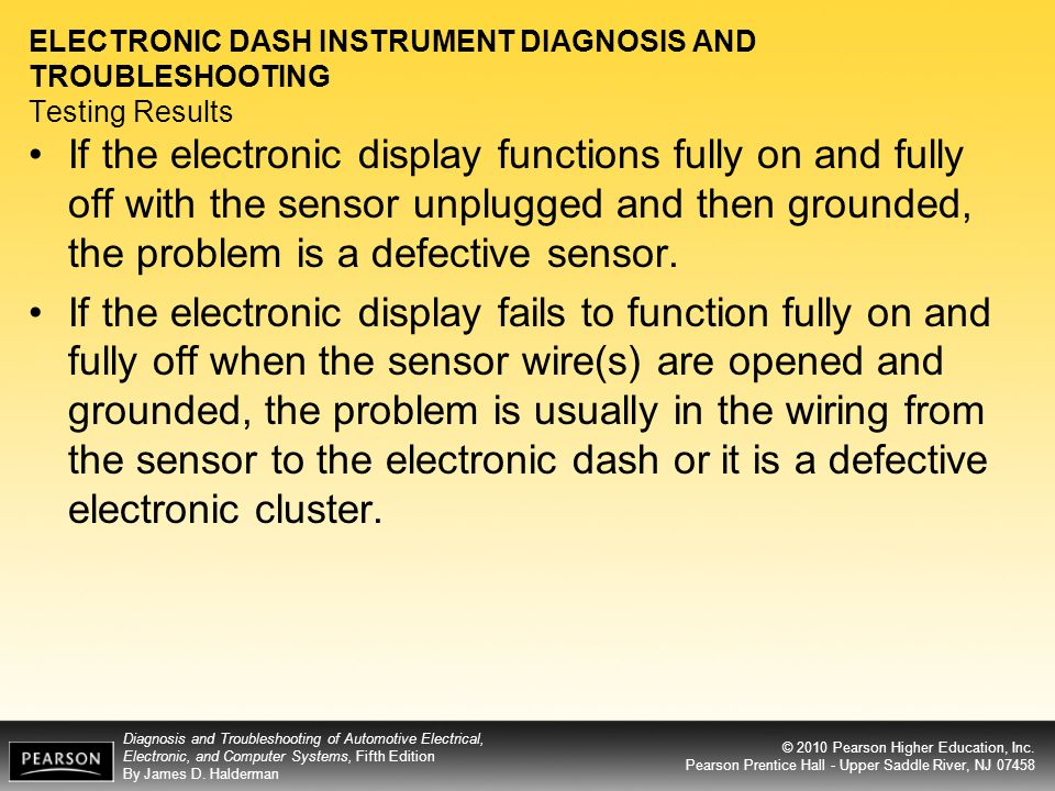 ELECTRONIC DASH INSTRUMENT DIAGNOSIS AND TROUBLESHOOTING Testing Results