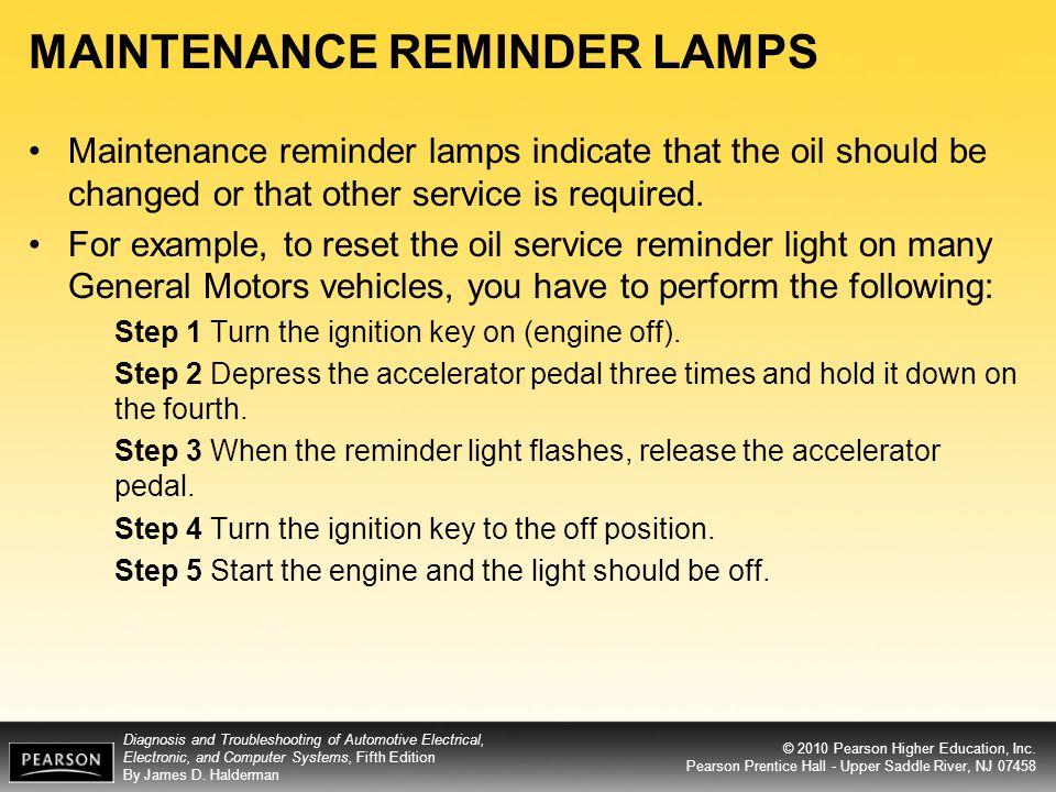 MAINTENANCE REMINDER LAMPS