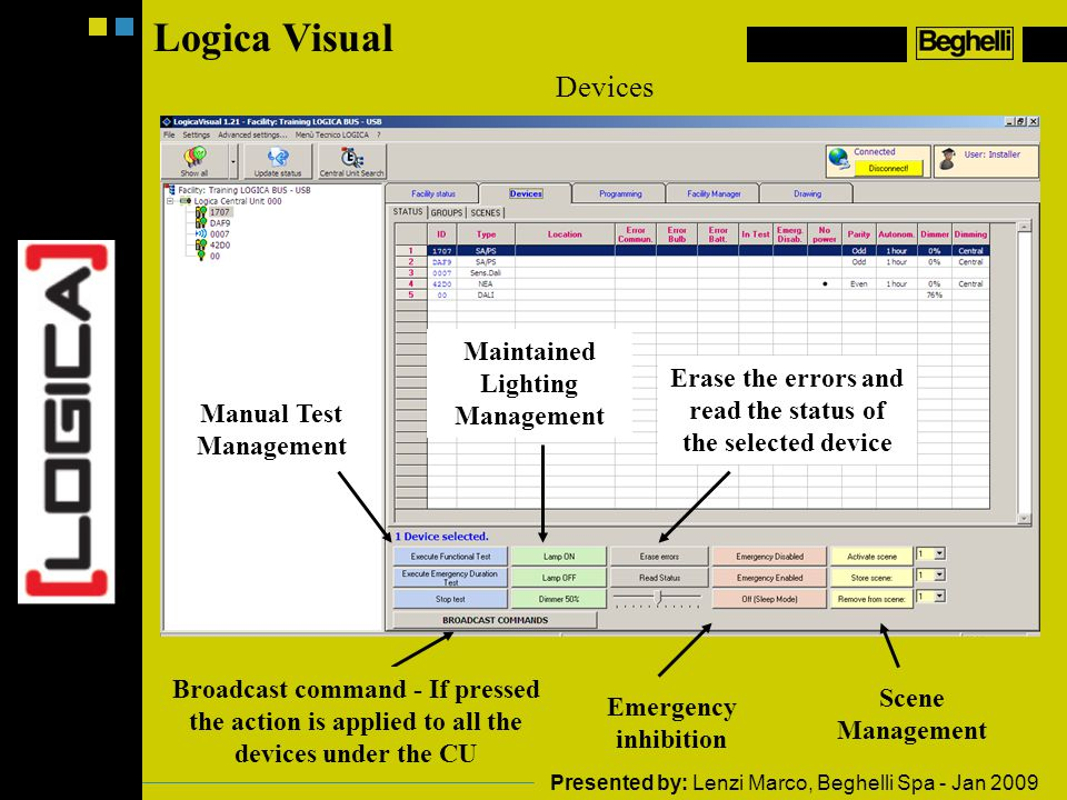 Logica Visual Devices Maintained Lighting Management