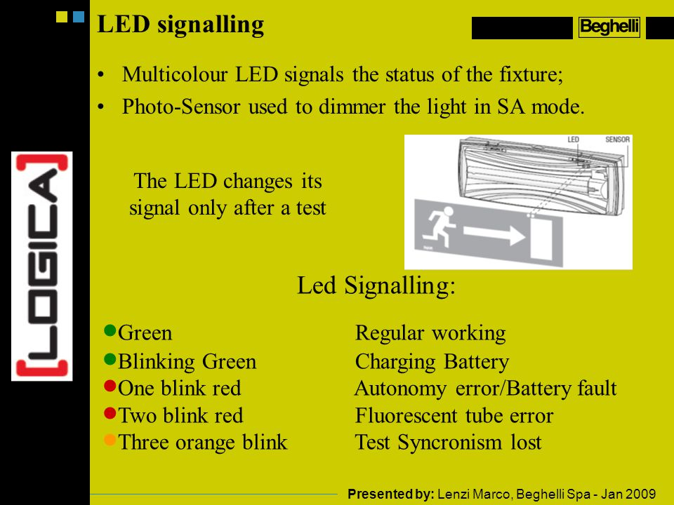 The LED changes its signal only after a test