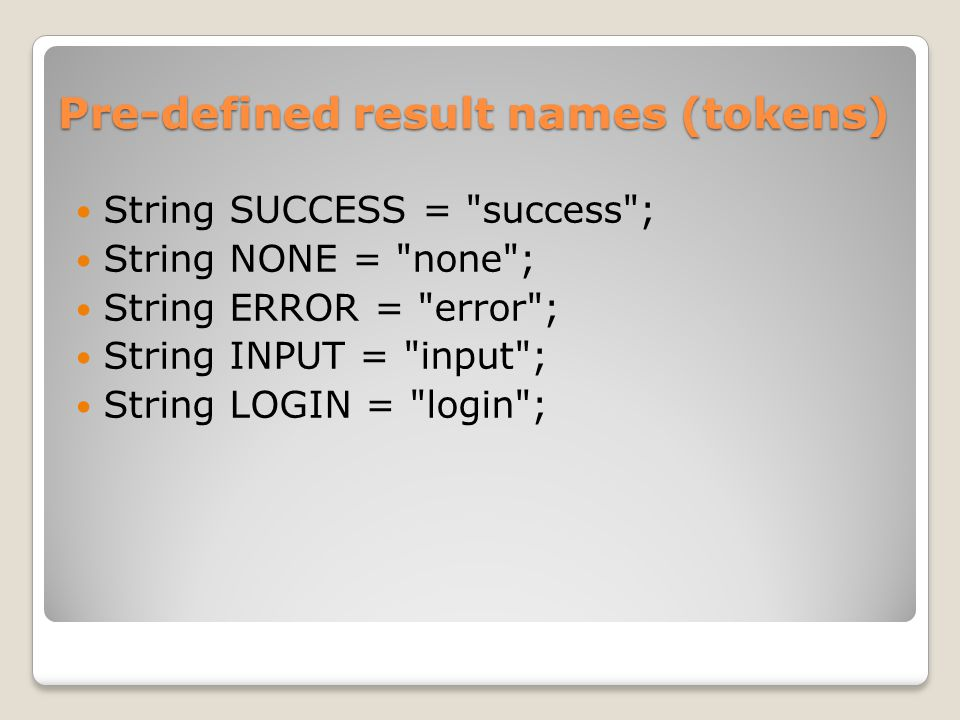 Pre-defined result names (tokens)