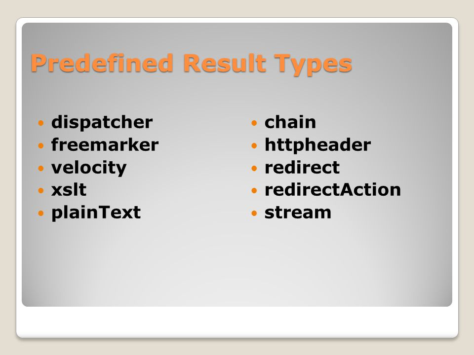 Predefined Result Types