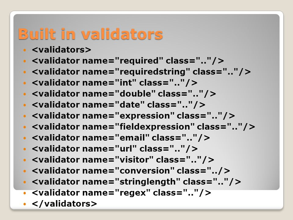 Built in validators <validators>