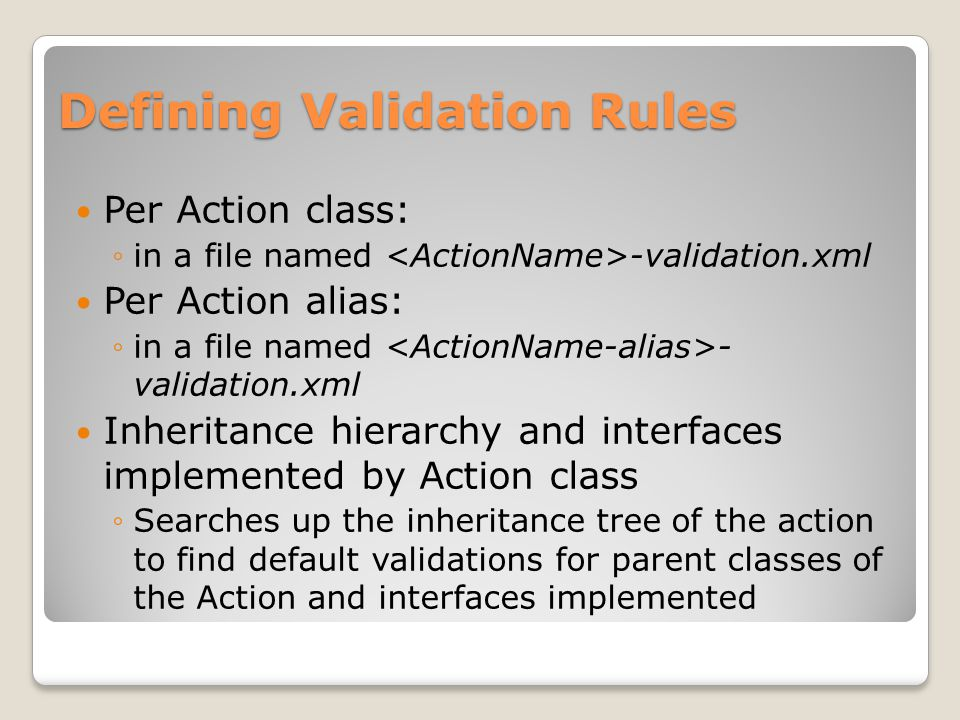 Defining Validation Rules