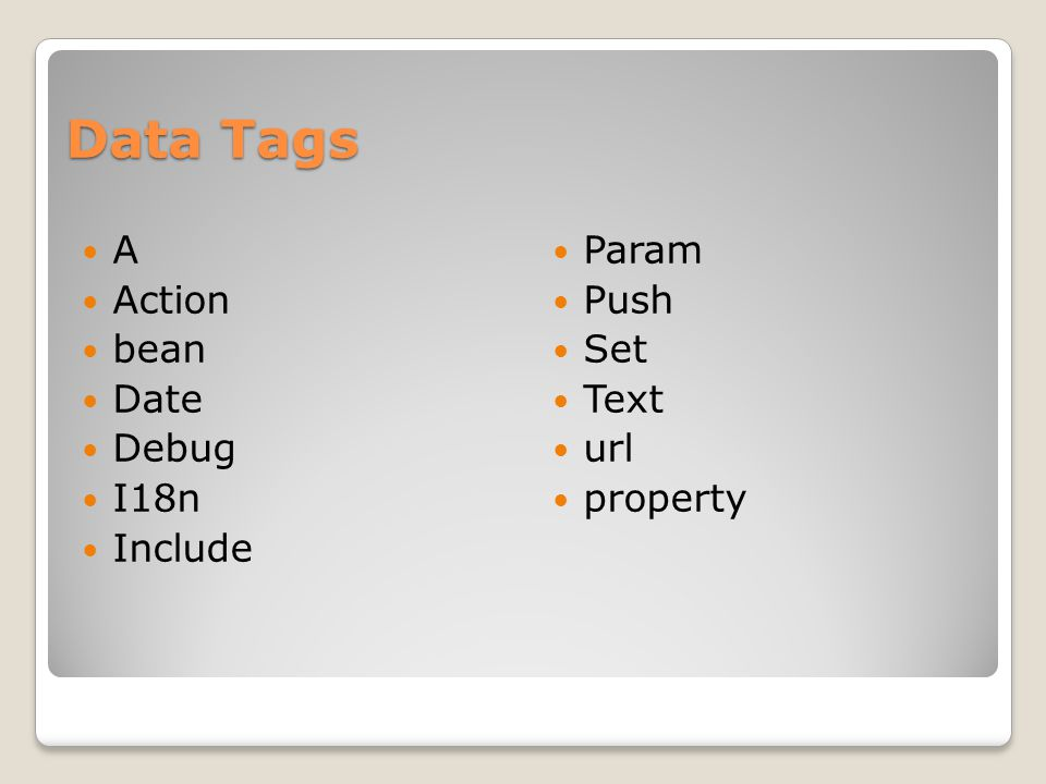 Data Tags A Action bean Date Debug I18n Include Param Push Set Text