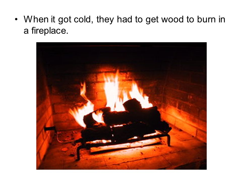 When it got cold, they had to get wood to burn in a fireplace.