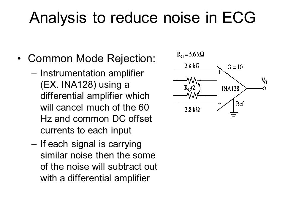Analysis to reduce noise in ECG