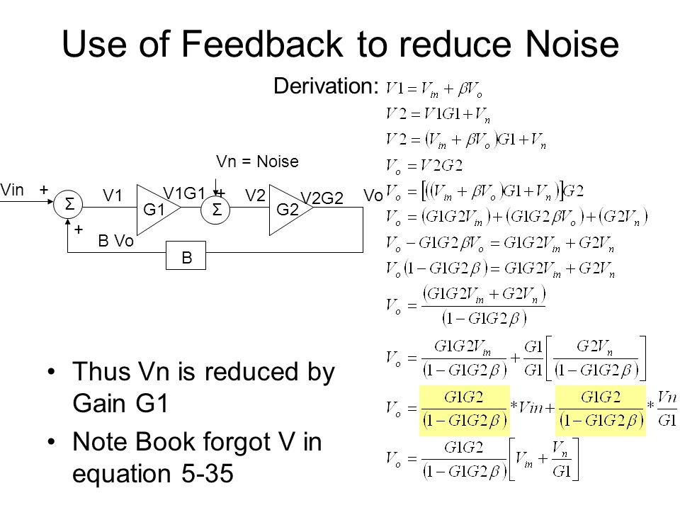 Use of Feedback to reduce Noise