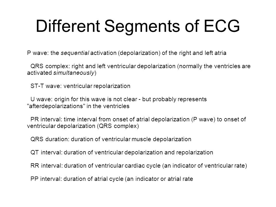Different Segments of ECG