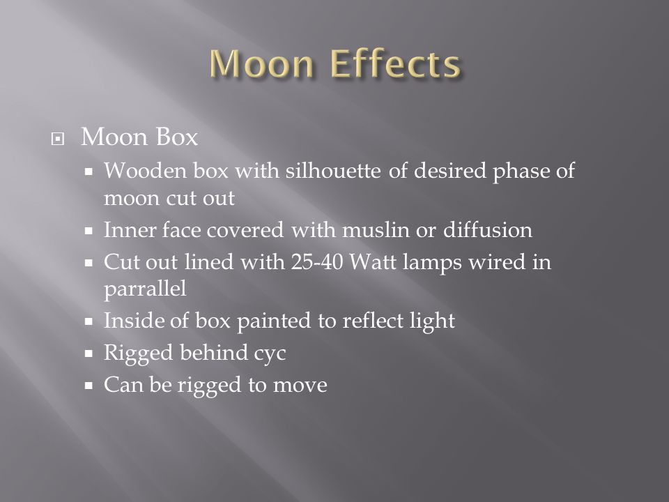 Moon Effects Moon Box. Wooden box with silhouette of desired phase of moon cut out. Inner face covered with muslin or diffusion.