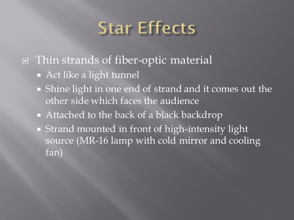 Star Effects Thin strands of fiber-optic material
