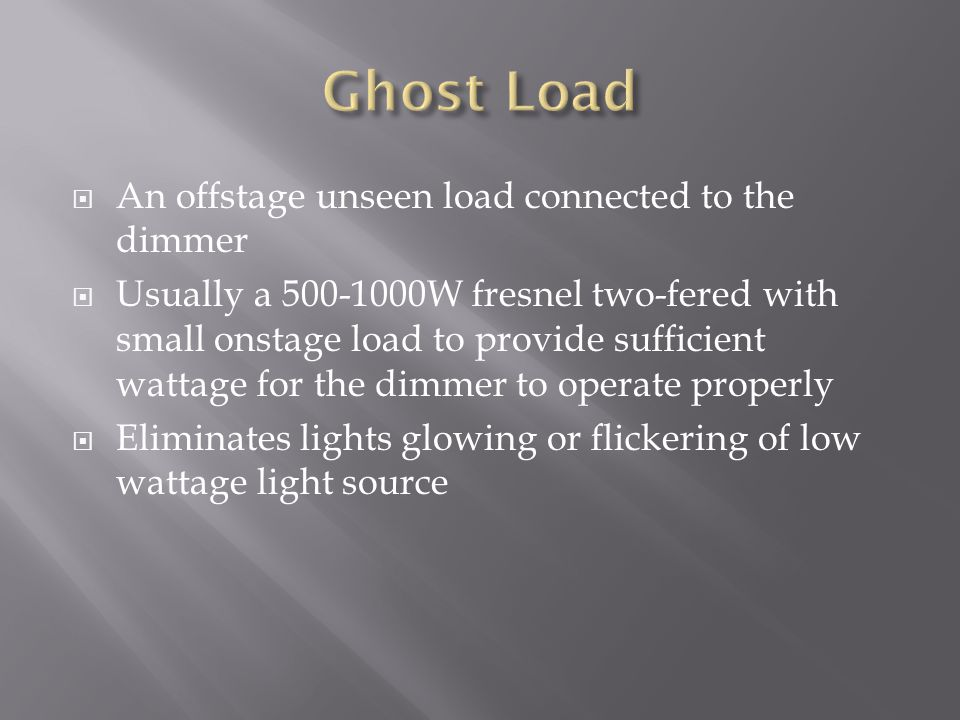 Ghost Load An offstage unseen load connected to the dimmer