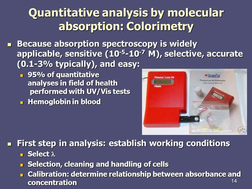 Quantitative analysis by molecular absorption: Colorimetry