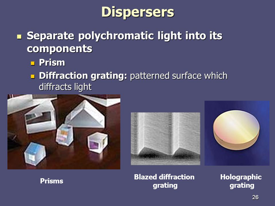 Dispersers Separate polychromatic light into its components Prism