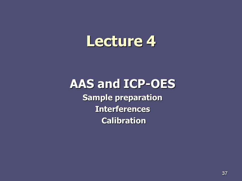 AAS and ICP-OES Sample preparation Interferences Calibration