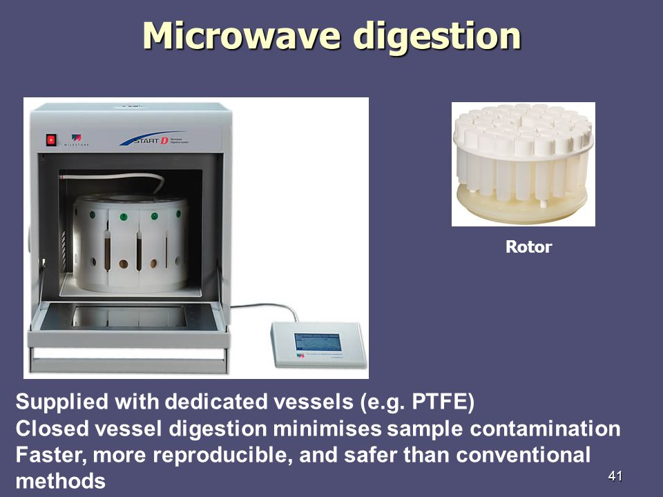 Microwave digestion Supplied with dedicated vessels (e.g. PTFE)