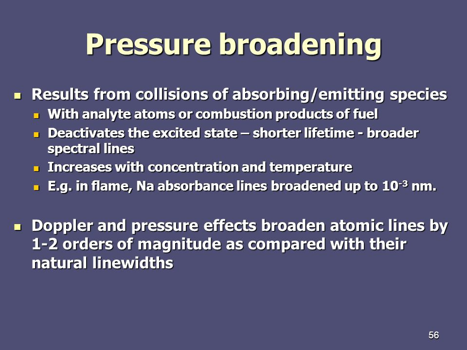 Pressure broadening Results from collisions of absorbing/emitting species. With analyte atoms or combustion products of fuel.