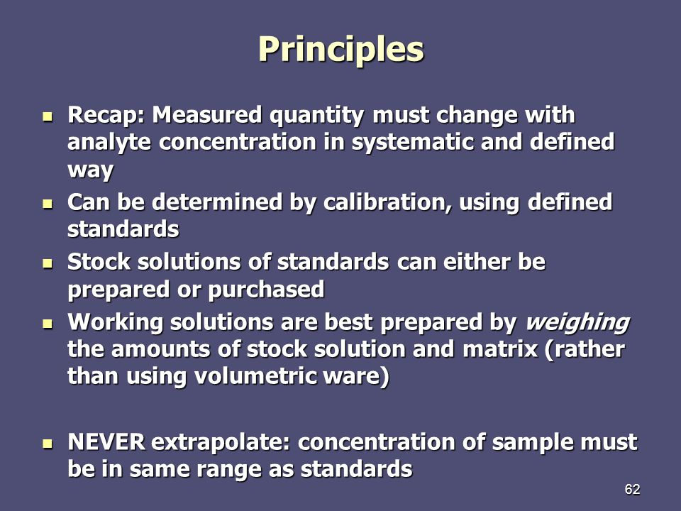 Principles Recap: Measured quantity must change with analyte concentration in systematic and defined way.