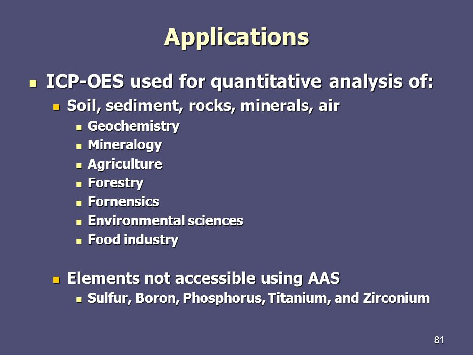 Applications ICP-OES used for quantitative analysis of: