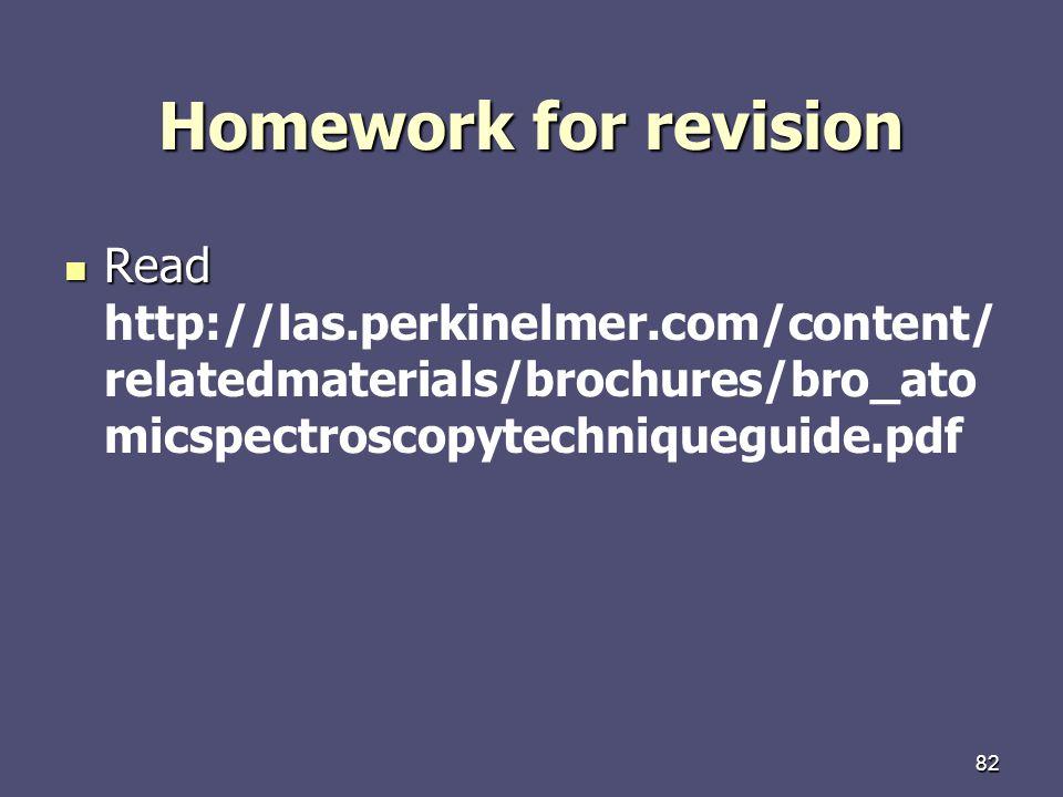 Homework for revision Read http://las.perkinelmer.com/content/relatedmaterials/brochures/bro_atomicspectroscopytechniqueguide.pdf.