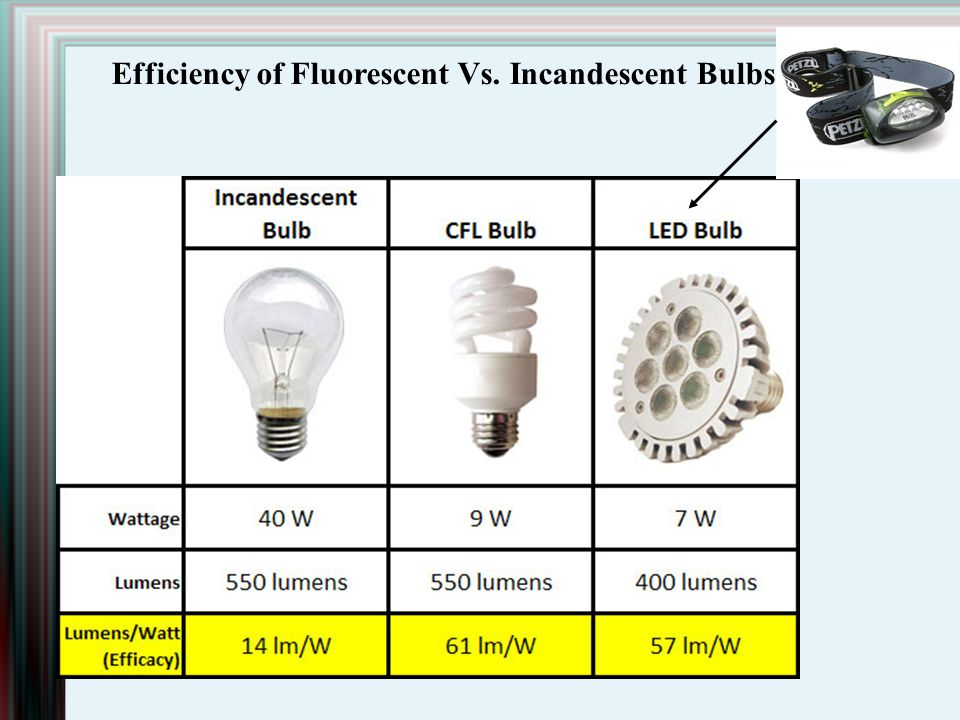 Efficiency of Fluorescent Vs. Incandescent Bulbs
