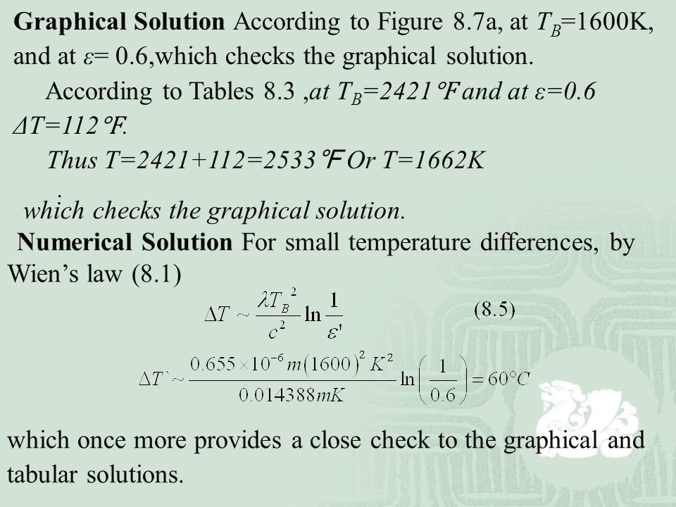Graphical Solution According to Figure 8.7a, at TB=1600K,