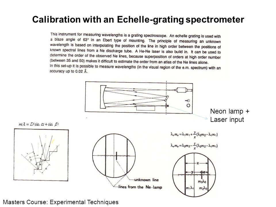 Calibration with an Echelle-grating spectrometer